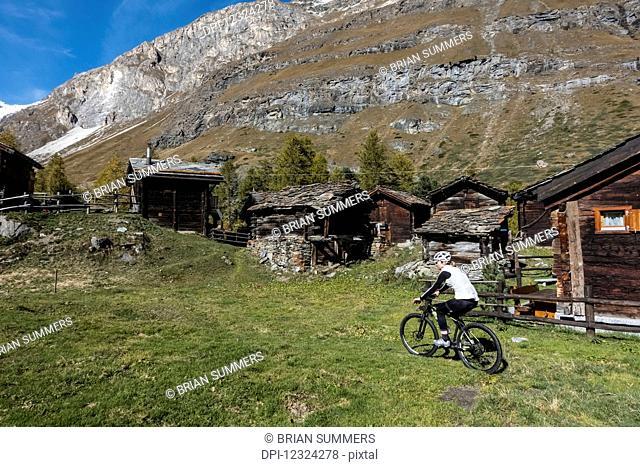 Mountain biking near Zermatt; Valais, Switzerland