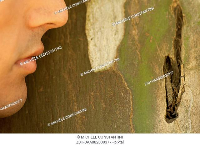 Man's face leaning against tree bark