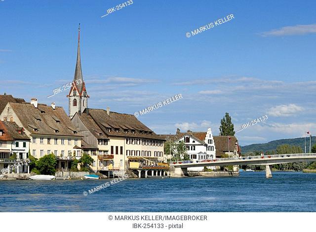 The Rhine and the old part of town in Stein am Rhein - Kanton Schaffhausen, Switzerland, Europe