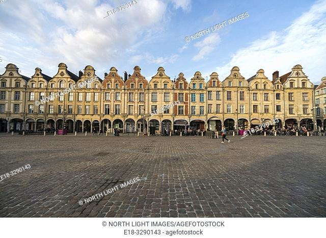 France, Arras. The Town Square surrounded by a unique architectural collection of Flemish-Baroque-style townhouses