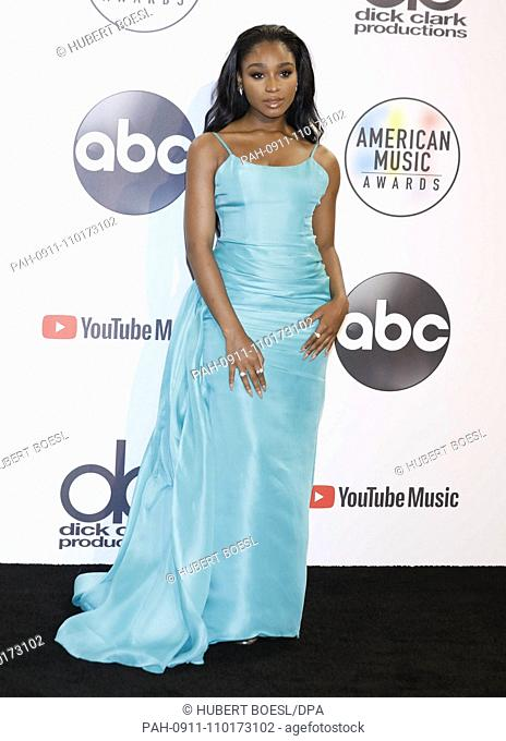 Normani poses in the press room of the 2018 American Music Awards at Microsoft Theatre in Los Angeles, USA, on 09 October 2018. | usage worldwide