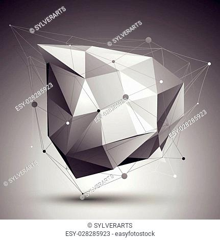 Vector digital 3d abstraction, lattice geometric polygonal template, perspective wireframe unusual illustration