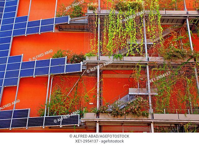 building with solar panels, 22 @, Barcelona, Catalonia, Spain