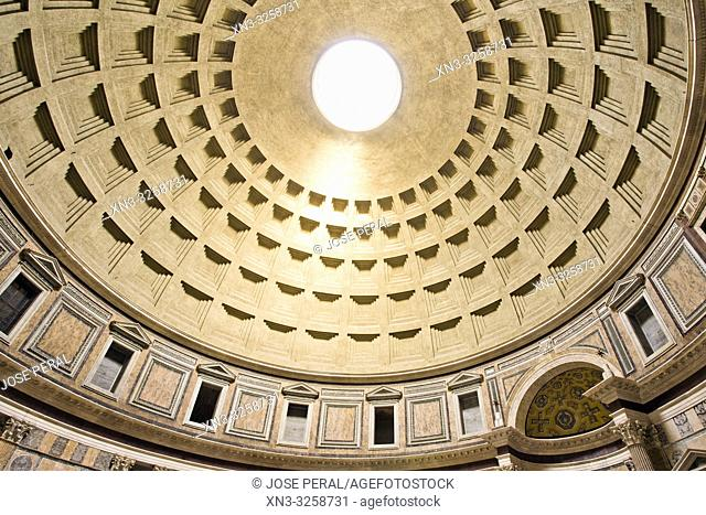 Pantheon dome, central oculus, Pantheon by Marcus Agrippa, Roman temple, Piazza della Rotonda square, Rome, Lazio, Italy, Europe