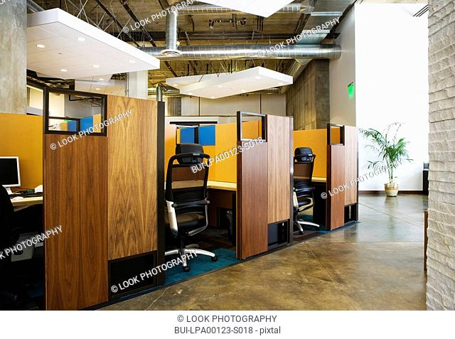 Interior of modern office cubicles