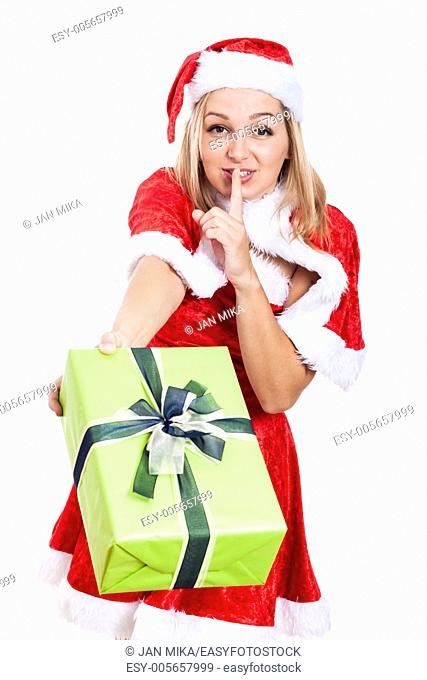 Happy Christmas woman giving present, isolated on white background