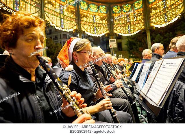 Christmas Concert at the Kiosk, Boulevard, Christmas, Donostia, San Sebastian, Gipuzkoa, Basque Country, Spain, Europe