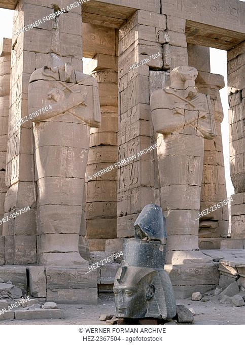 The Ramesseum and the Osiride statues, Luxor (Thebes), Egypt. The ruins of the mortuary temple of the Pharaoh Rameses II