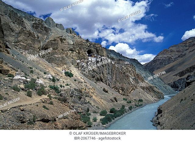 Phugtal Monastery or Phugtal Gompa, also known as swallow's nest monastery, Tsarap River, Zanskar, Ladakh, Indian Himalayas, Jammu and Kashmir, northern India