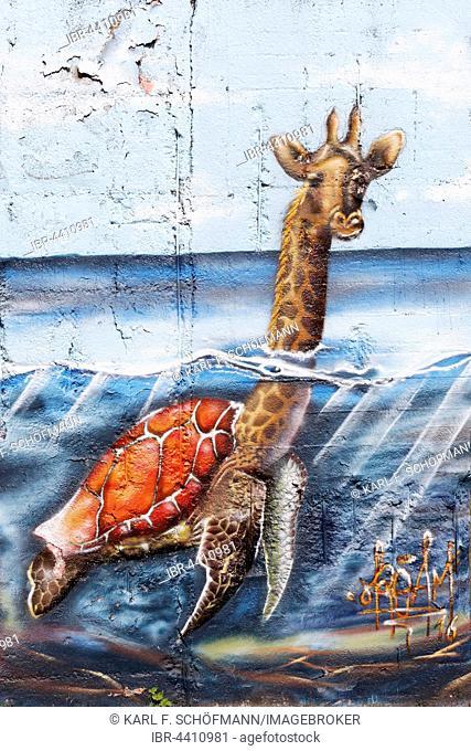 Giraffe swimming in the sea, graffiti, surreal, urban art, street art, Duisburg, Ruhr district, North Rhine-Westphalia, Germany