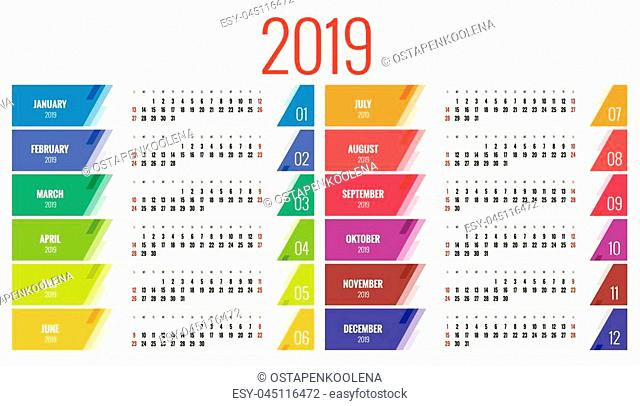 Vector Calendar for 2019 year. Vector design print template. Set of 12 calendar pages. Stationery design