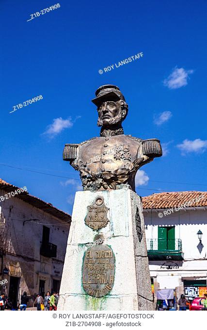 Statue of Juan B Zubiaga in a Cusco plaza, Peru