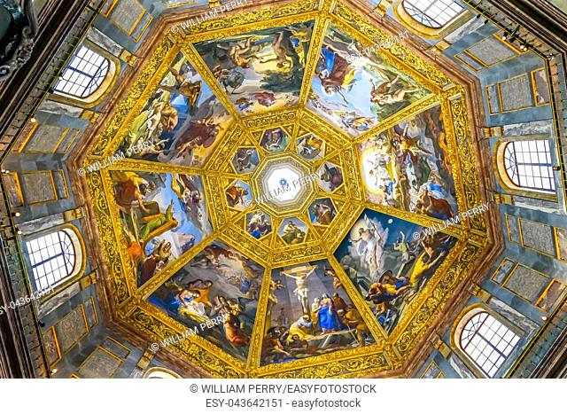 Biblical Paintings Dome San Lorenzo Medici Church Florence Tuscany Italy. Family Church Medici Family