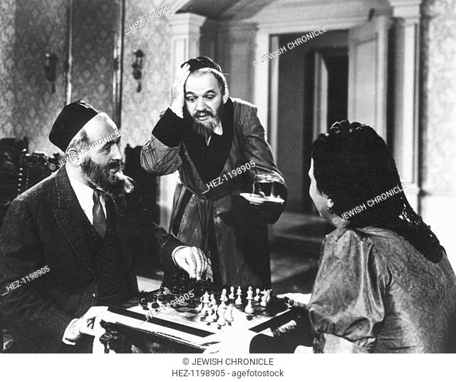 Chess scene from Mirele Efros, 1938. Yiddish language film with English sub-titles, starring Berta Gersten in the title role