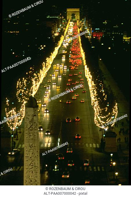 France, Paris, Champs Elysees at Christmastime at night