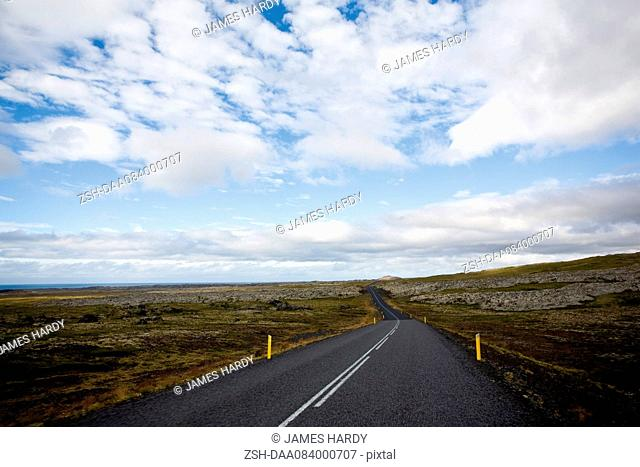 Route number 574 through flat countryside, Iceland