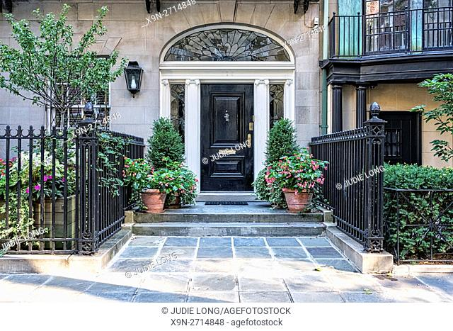 Entry and Walkway, Decorated with Flower Pot Planters, to an Upper East Side, Manhattan, New York City Townhouse