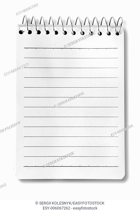 High resolution isolated spiral notepad with clipping path