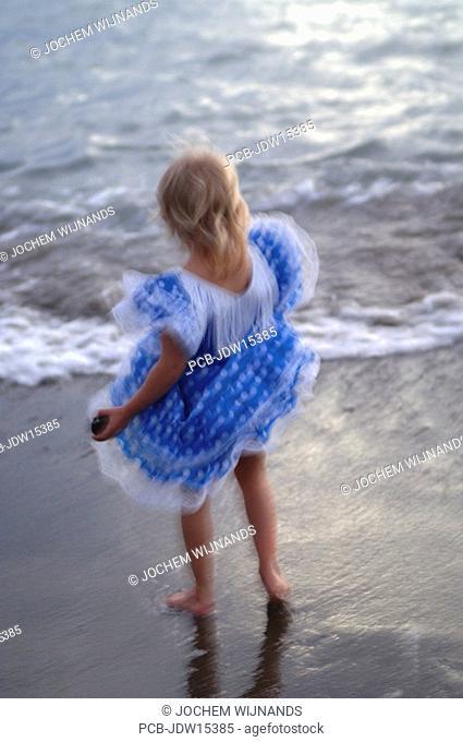 Gran Canaria, Puerto de Mogan, girl in a blue flamenco dress