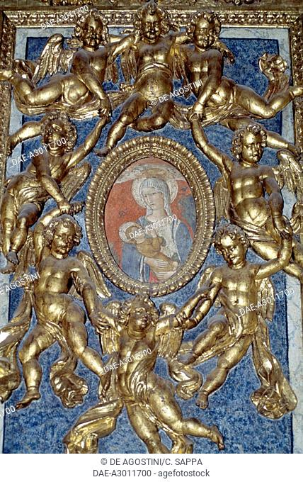 Gilded putti and Madonna and Child, St Venantius cathedral, Fabriano, Marche, Italy, 11th-17th century
