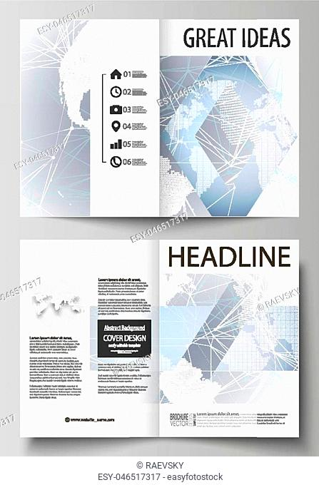 The vector illustration of the editable layout of two A4 format modern cover mockups design templates for brochure, magazine, flyer