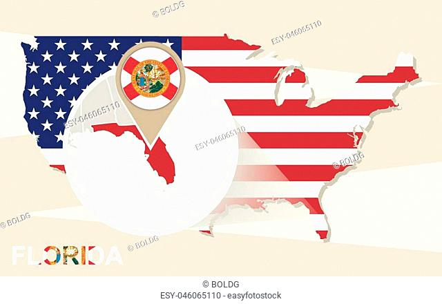 USA map with magnified Florida State. Florida flag and map