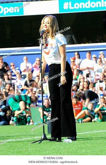 Game for Grenfell, at Loftus Road Stadium, celebrities, family members from Grenfell and members of the emergency services took part tin the match