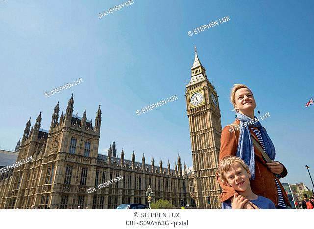 Mother and son in front of big ben