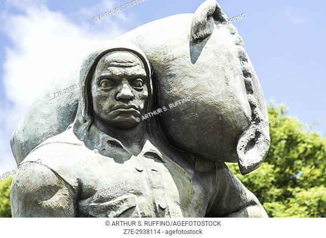"""Close-up of """"""""The Stevedore"""""""" sculpture by L. B. Pagani, 1930, Montevideo Port, Uruguay, South America"""