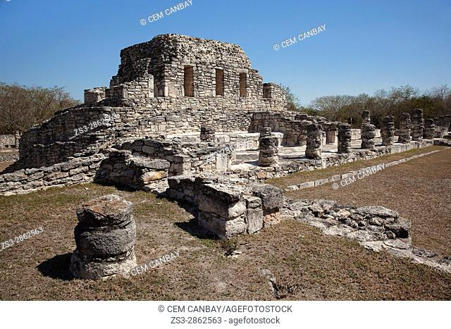 View to the El Templo de la Mascara in Mayapan Archaeological site, Merida, Yucatan State, Mexico, Central America