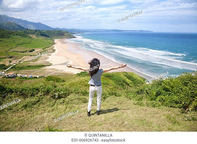 beach of La Vega near to Ribadesella village in Asturias Spain
