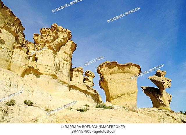Bizarre rock formations, cliffs, rocks, erosion, Bolnuevo, Mazarron, Costa Calida, Murcia, Spain, Europe
