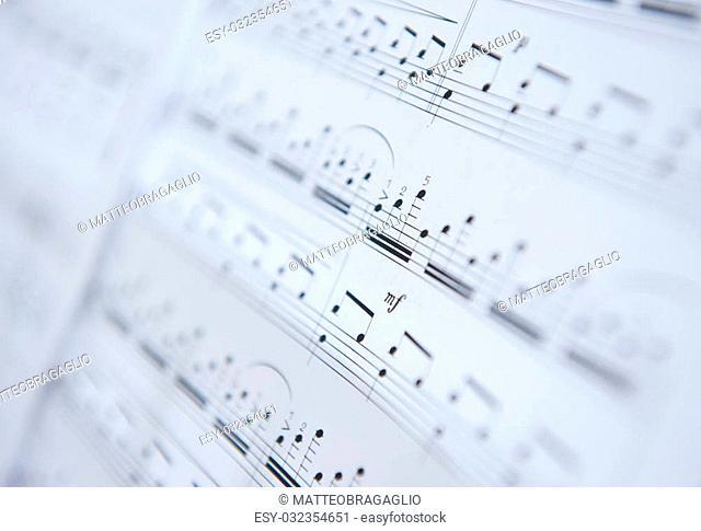 music sheet close up, selective focus