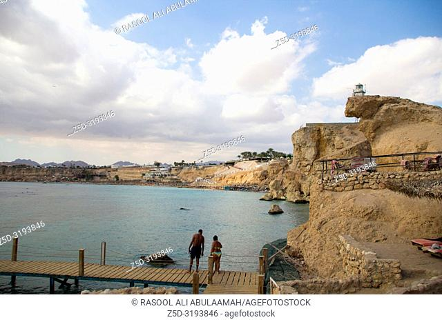 Sharm El-Shaikh, Egypt - November 2, 2018:- photo for Red Sea coast In the Egyptian city of Sharm el-Sheikh, which showing water and some rocks and beds and...
