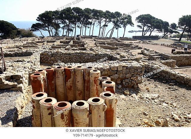Water filters, Greek settlement ruins, Empuries. Alt Emporda, Girona province, Catalonia, Spain