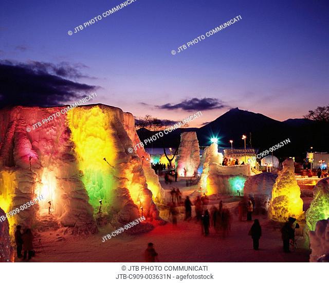 Evening View, Chitose and Shacmizumi Coori festival, Chitose, Hokkaido, Japan