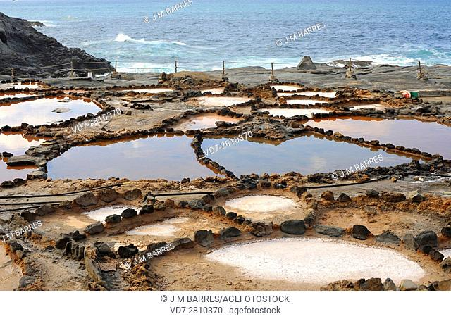 Salt evaporation ponds, salt works or salterns are artificial ponds ready to extract salts for water evaporation. This photo was taken in Banaderos