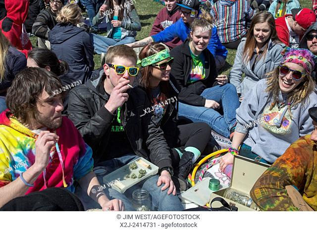 Ann Arbor, Michigan - The annual Hash Bash at the University of Michigan, where a lot of marijuana is smoked and speakers call for its legalization