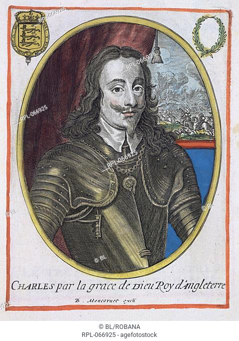 Charles I 1600-49. King of Great Britain and Ireland. Portrait. Image taken from A collection of 279 coloured portraits of illustrious persons engraved by B