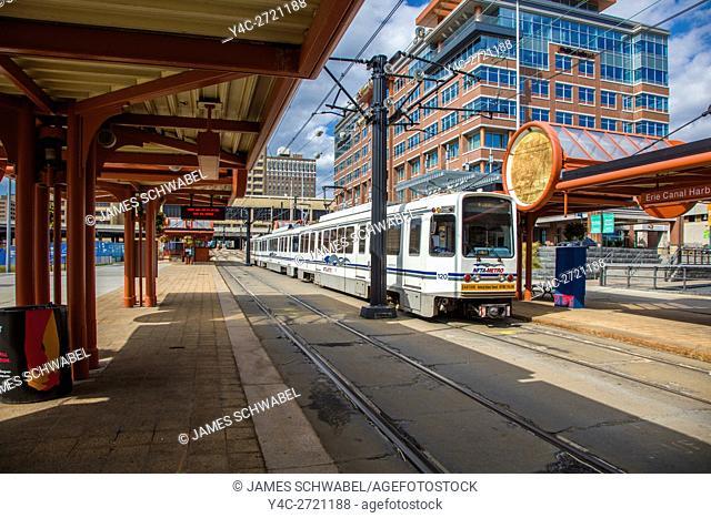 Erie Canal Harbor stop on Buffalo Metro Rail public transit rail system in Buffalo, New York