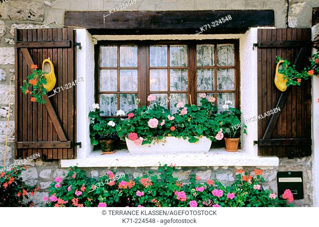 Home window and flowers. Giverny. France