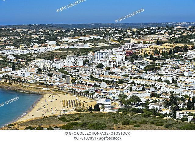 View at Praia de Luz at the Algarve coast, Portugal