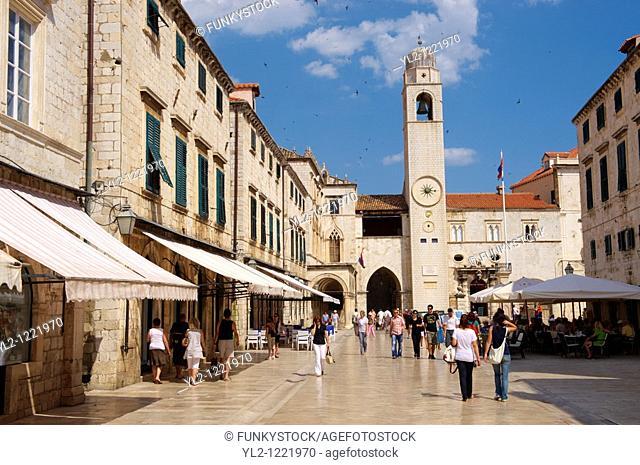 Placa Stradum - Main street in Dubrovnik looking towards the Bell tower - Croatia