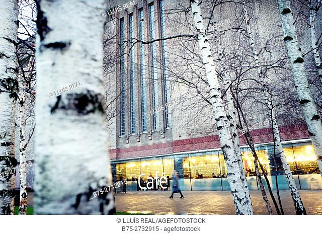 Tate Modern's cafe seen through trees, Bankside, London, England