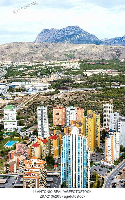 Benidorm and Puig Campana mountains, Alicante province, Comunidad Valenciana, Spain