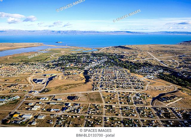 Aerial view of El Calafate cityscape, Patagonia, Argentina