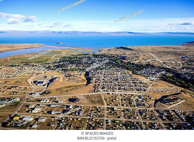 Aerial view of El Calafate cityscape, Patagonia, Argentina