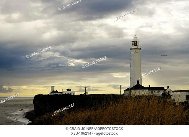 The lighthouse at Nash Point near Marcross on the Glamorgan Heritage Coast of South Wales overlooking the Bristol Channel