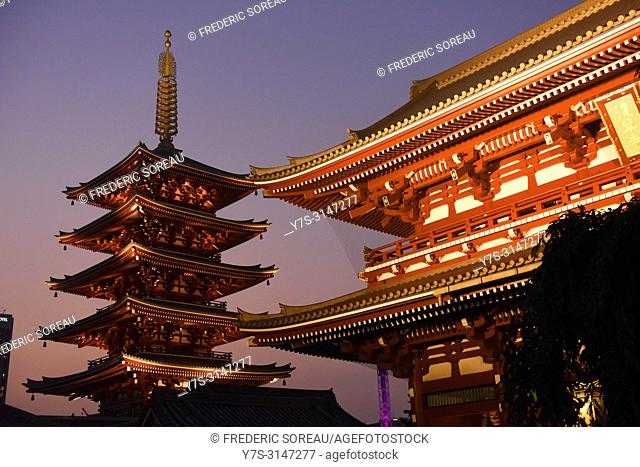 Night view of Senso-ji temple, Asakusa, Tokyo, Japan, Asia