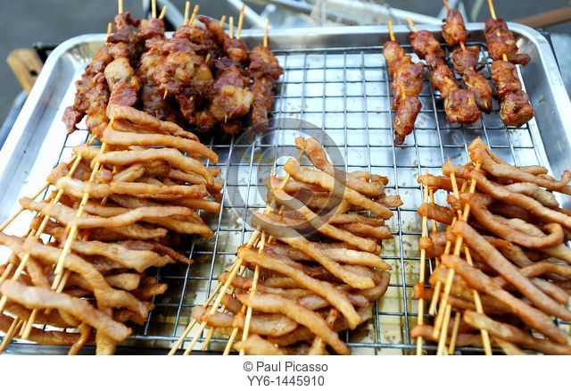 sundried beef and pork on stick, bbq and ready to eat, fast food bangkok style, food and travel, thailand